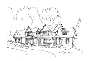 sketch residential architecture with landscape background