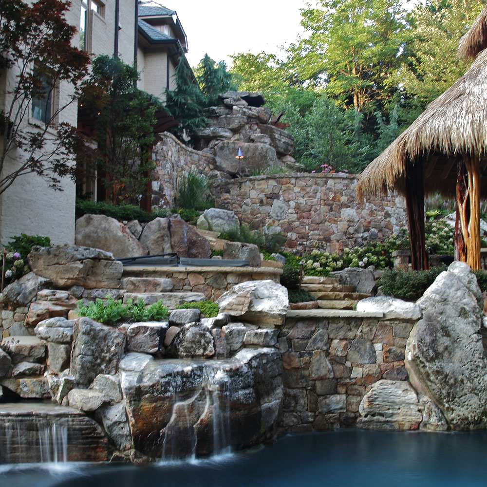 Thatched Roof Tiki Bar Swimming Pool Amp Custom Stone Work Potomac Md Surrounds Landscape