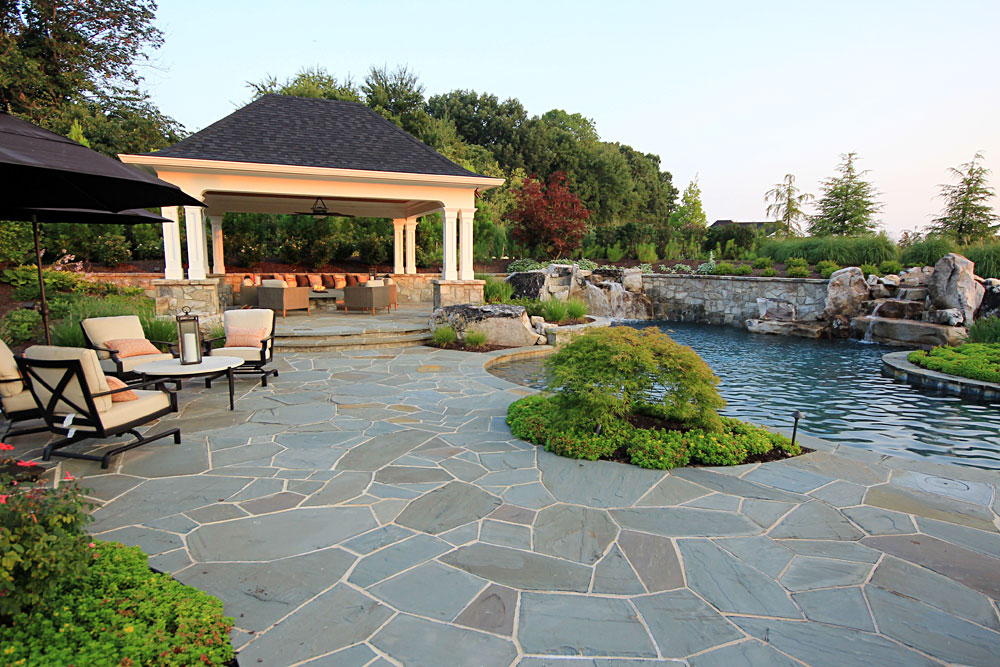 Flagstone Patio With Pergola