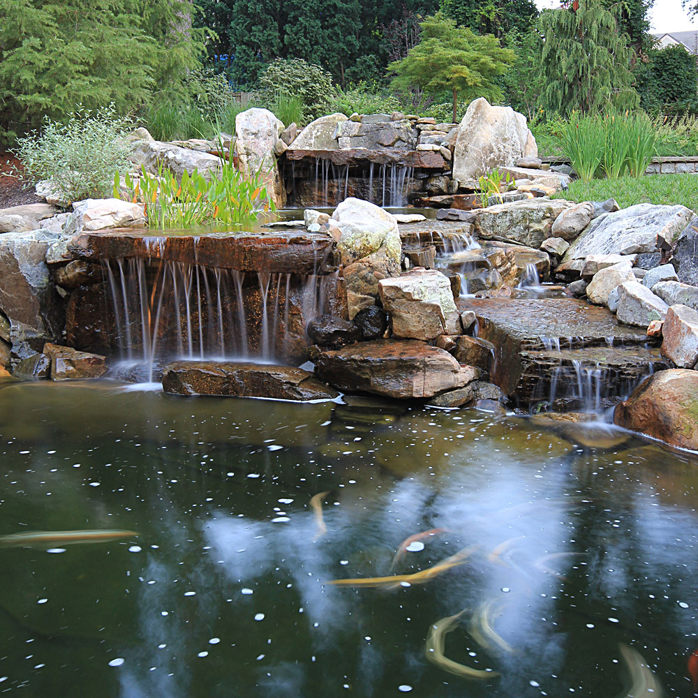 Photo gallery of swimming pools ponds fountains for Waterfall features for ponds