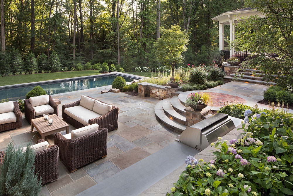 Parkview Hills backyard with pool and stonework