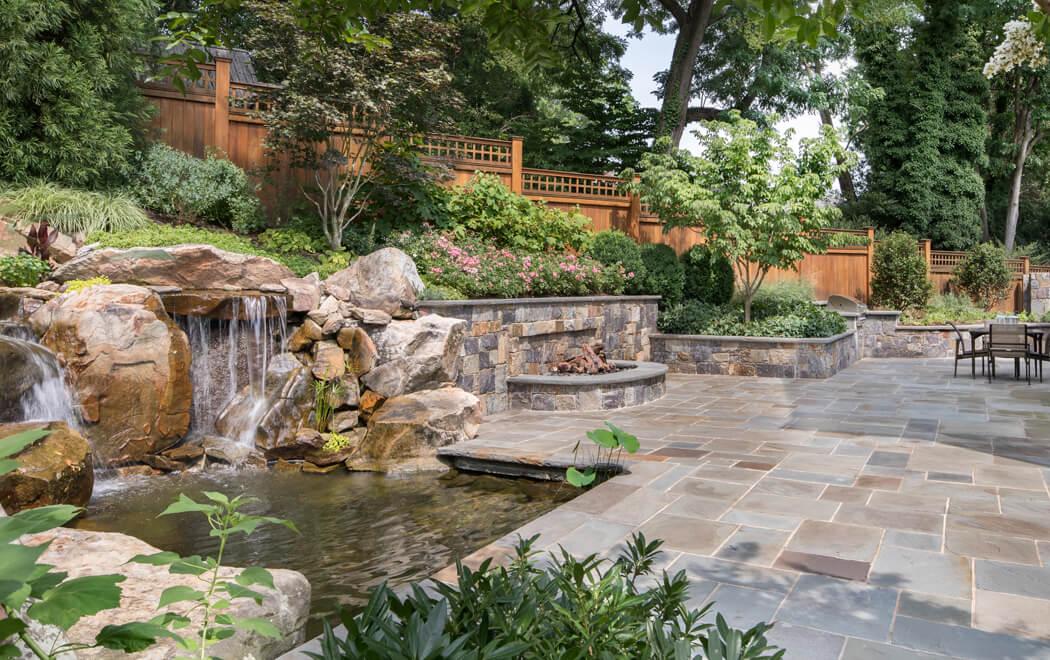 formal style garden pond