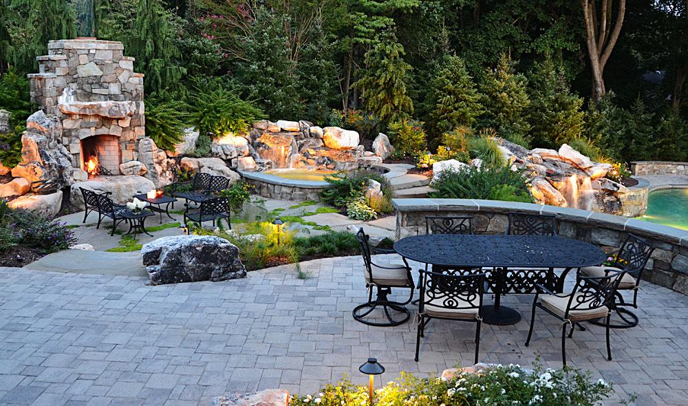 waterfalls  custom swimming pool  outdoor kitchen  fireplace  spa