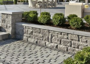 manufactured block retaining wall and patio
