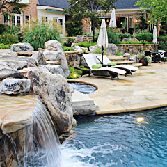 Flagstone & Boulder Terraces, Pool House, Outdoor Lighting