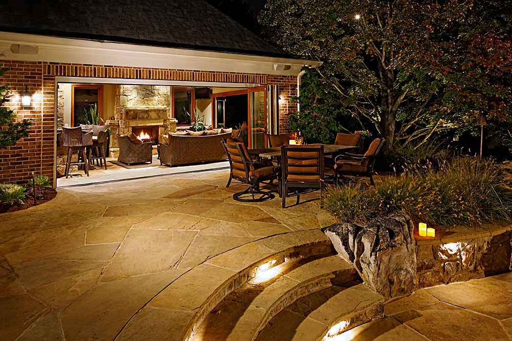 Flagstone and Boulder Terraces, Pool House, Outdoor ...