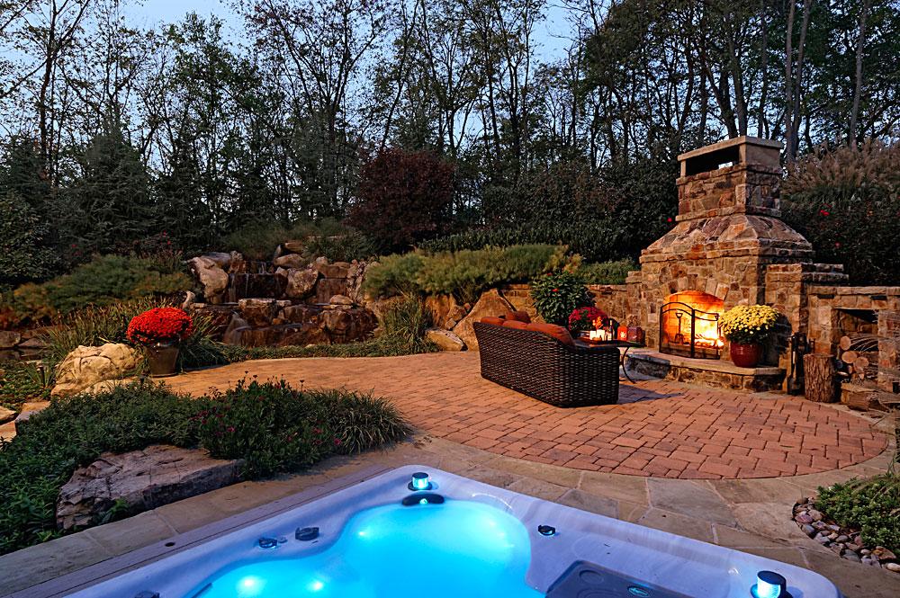 Custom Stone Work Built In Spa Fireplace