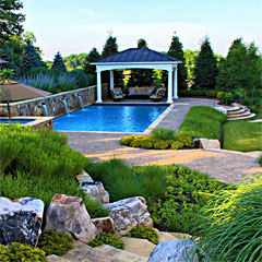 Swimming Pool with Fountains, Spa, & Open Air Pool House