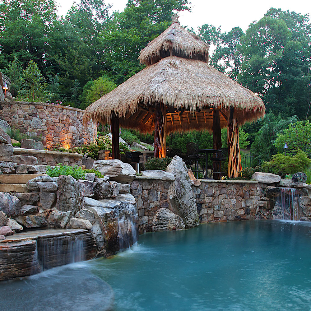Photo gallery of swimming pools ponds fountains for Garden pond grills