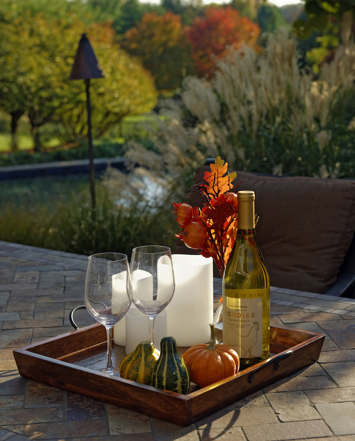 fall garden care pool patio scene