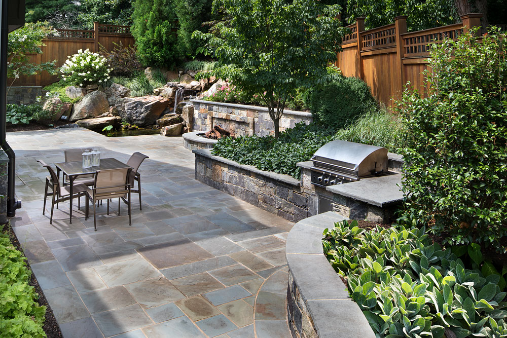 Bethesda Residence backyard grill, stone work and patio dining