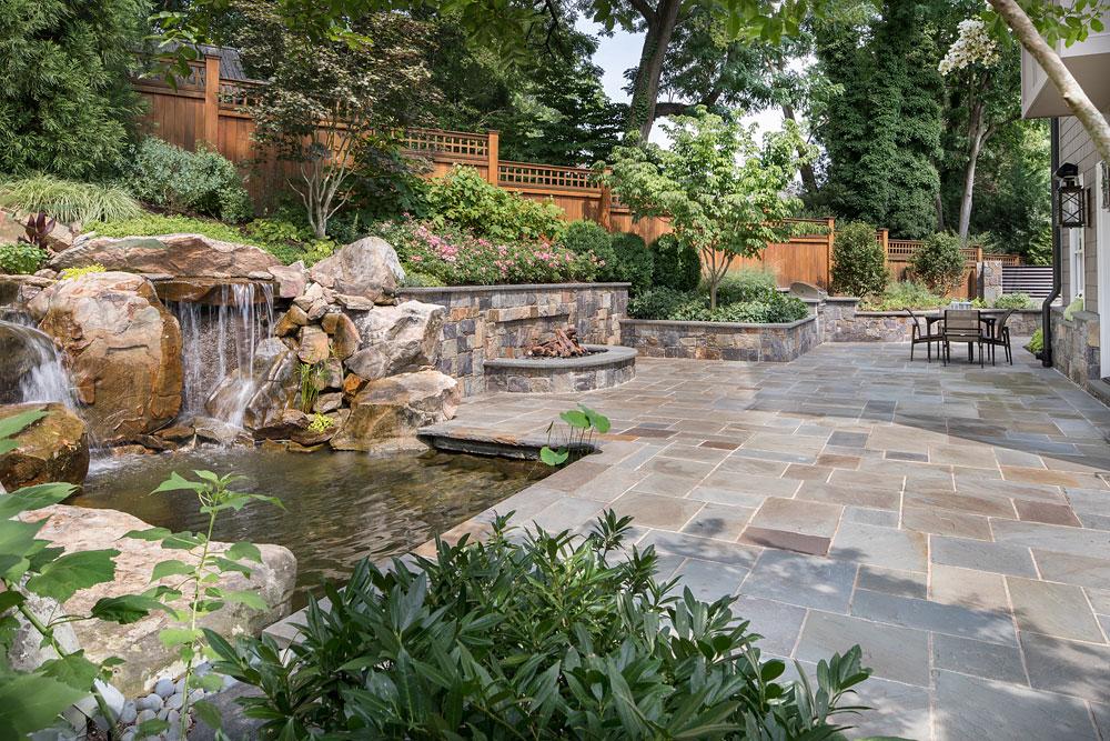 Bethesda Residence backyard stonework