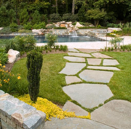 Enchanting Small Garden Landscape Ideas With Stepping Walk: McLean Virginia Landscape Patio Design, Retaining Walls