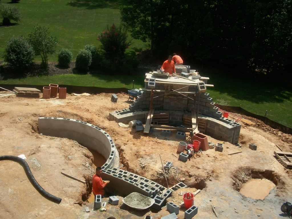 hardscape construction outdoor fireplace and stone wall