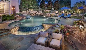 lagoon style inground pool with zero edge