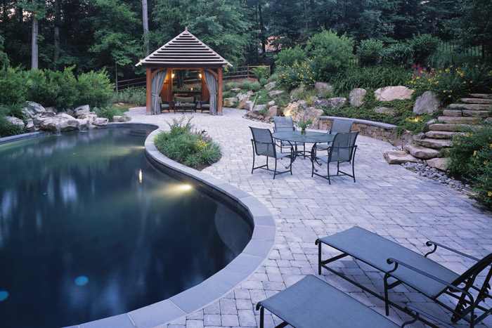 landscape design 2 pavers pool deck