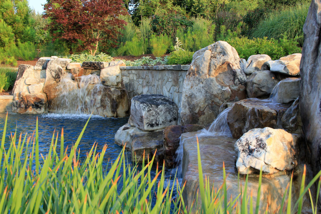 landscape design boulders waterfalls