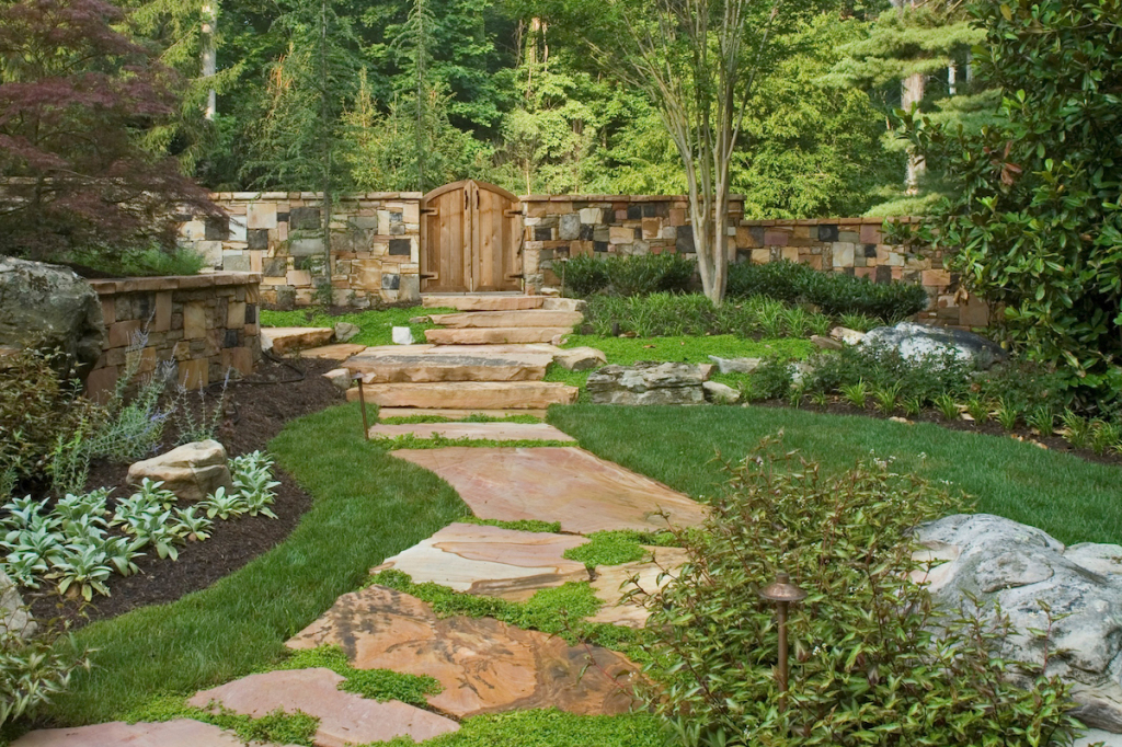 landscape maintenance natural garden and stone wall