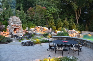 outdoor dining patio, fireplace, spa and waterfall design
