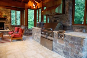 outdoor kitchen inside pool house