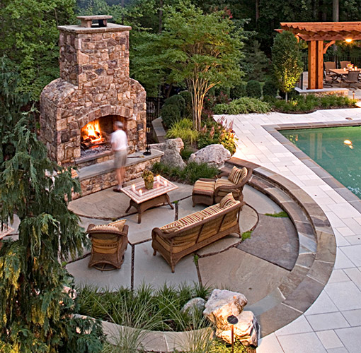 Patio Design: rectangular patio pavers with circular flagstone outdoor fireplace