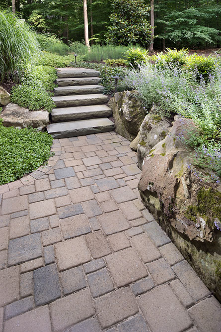 Poburn Woods backyard stonework, steps and plantings
