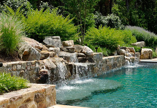 Pool with natural waterfall