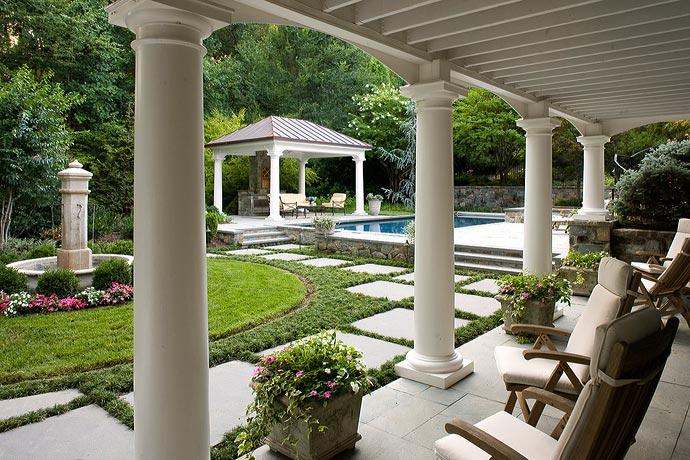 Mclean great falls pergola porch pool house design for Pool veranda designs