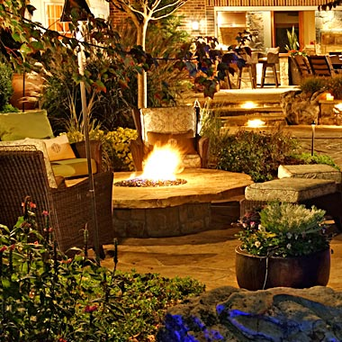 Raised Round Style Fire Pit and Spa