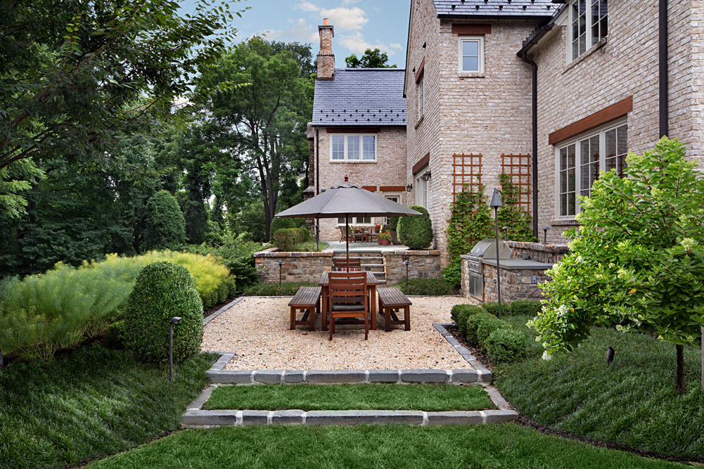 Red Barn Terraced Back Yard Living Areas