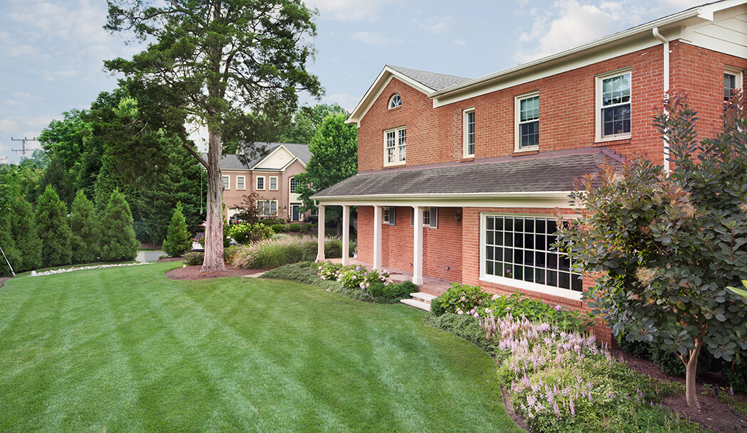 side yard landscaping conceal landscape drainage system