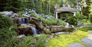 garden waterfall and natural stream